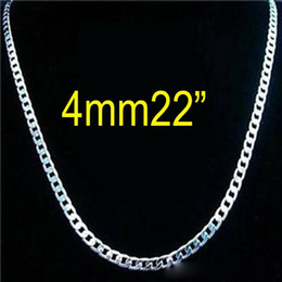 Wholesale 925 Sterling Silver Chains 22inch - Top Sale 925 Sterling silver 4mm Curb Chain necklace fashion men's necklace 22inch 56cm free shipping