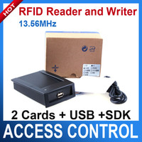 Wholesale Usb Writer - Rfid reader and writer 13.56Mhz accord with ISO 14443 A with 2 CARDS + USB + SDK