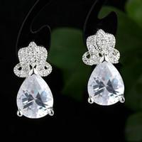 Wholesale Pear Zirconia Earrings - Lady Sterling 925 Silver Stud Earrings Jewelry with Pear Cut Cubic Zirconia Fashion Ear Wear E083