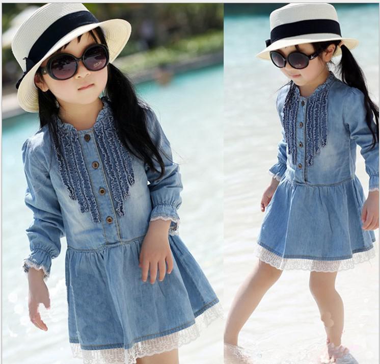 Girls Dresses Kids Denim Dress Cowboy Baby Childrens Girl Cloting Skirts Online With 6243 Piece On