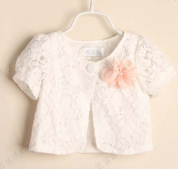 Wholesale Lace Ponchos - Girls Cute Lace Poncho With Flower Kids Summer Short Sleeve Coats Child Clothes Casual Princess Tops Fashion Cloaks Mantle Children Poncho