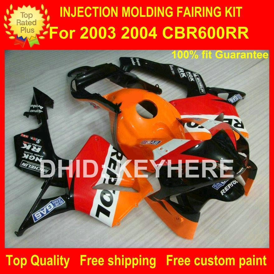 Carenagem de motocicleta Injeção para HONDA CBR 600RR 2003 2004 CBR-600RR 03 04 F5 03 04 carenagem conjunto de alta qualidade orenge REPSOL carroceria set G2b