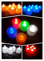 Wholesale Low Price Led Candles - Hot Lowest price-Freeship-Tracking number-New Arrivals 24pcs Colours Tea Light LED Candle Wedding Party Decoration Wedding Favors 584