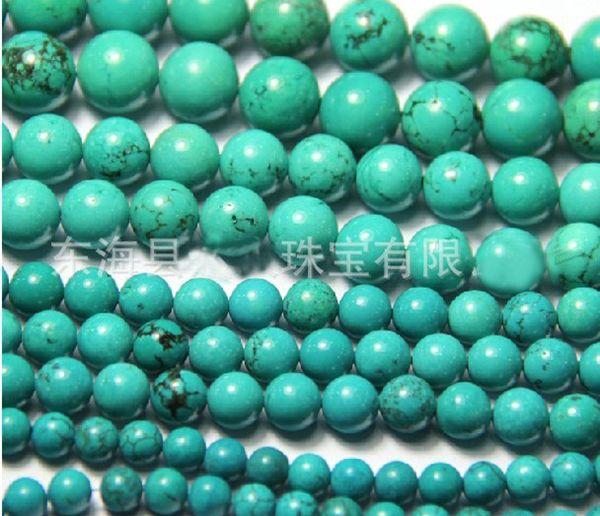 4mm 6mm 8mm 10mm 12mm 14mm 16mm Perles Perles En Pierre Naturelle Perles Turquoise Bracelet DIY 100pcs