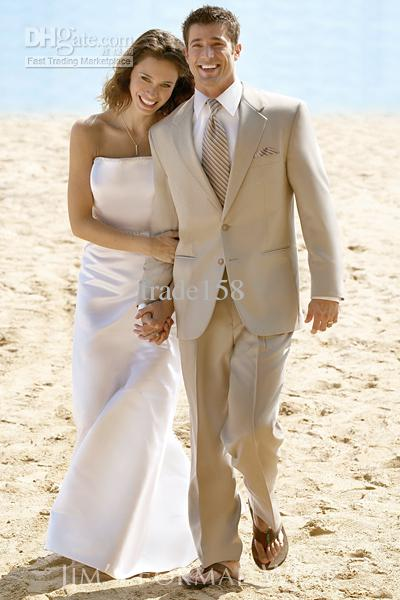 2017 Custom Made Beige Groom Tuxedos Wedding Suits Men