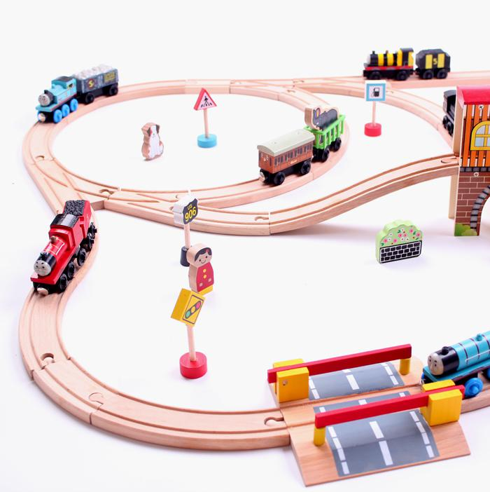 Toy Car Track : Online cheap wooden train tracks car toy kid