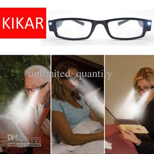 9fd53fc7675ef Compre Kikar Moda Led Óculos De Leitura Com Caixa De Plástico Noite Leitor  De Luz Ocular Up Óculos Espetáculo Dioptria Lupa Presbiopia De  Unlimited quantity ...