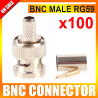 Wholesale Crimp Cable Connectors - 100PCS LOT CCTV BNC Connector, BNC male crimp plug for RG59 coaxial cable