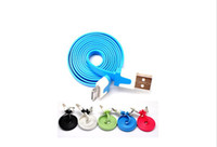 Wholesale Usb Noodle Cable 4g - 100pcs Good quality 2m colorful Noodle Flat USB Sync Data & Charger Cable For 4 4g free shipping