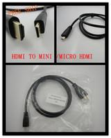 Wholesale Mini Hdmi Monitor Cable - HDMI to mini  micro hdmi cable 3FT monitor cord black 50pcs lot SG COPPER in stock good quality