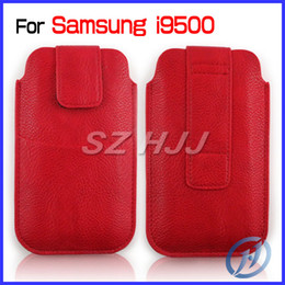 Wholesale Pouch Sleeve Galaxy S3 - Universal Leather Pouch Sleeve Bag Pocket Case Cover for Samsung Galaxy S4 i9500 S3 i9300