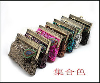 Wholesale Purple Green Sequin Clutch - Handmad Women's Beaded Sequins Satin Rhinestone Peacock clutch bags handbag purse evening bag banquet Bags 8 Colors for you choose 3382