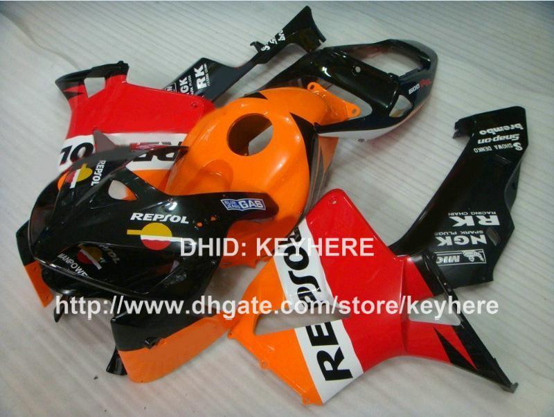 Kit carena ABS iniezione personalizzata HONDA CBR600RR 2005 2006 CBR-600RR 05 06 F5 05 06 carene carrozzeria carrozzeria arancione rosso REPSOl