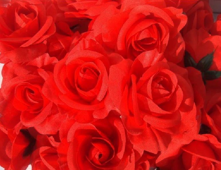 Rode kleur 100 stks diameter 7-8 cm kunstmatige zijde camellia rose stof camellia bloemhoofden