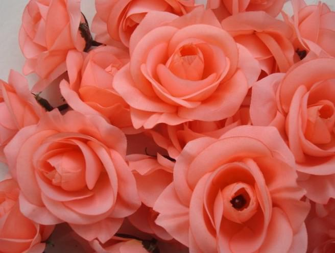 Lachs gefärbt / Durchmesser 7-8cm künstliche Seide Kamelie Rose Stoff Kamelie Blume Köpfe