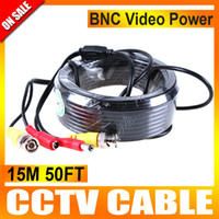 Wholesale Dvr Power Cable - 15M 50FT BNC Video Power Cable for CCTV DVR Surveillance Security Camera