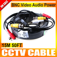 Wholesale Audio Power Cable Cctv - 15M 50FT Audio Video Power Camera Cable BNC RCA CCTV Cable