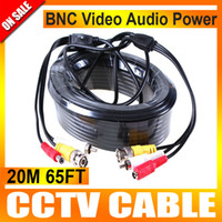 Wholesale Av Cable For Camera - 20M Audio Video 65FT BNC RCA Power AV Cable For CCTV Camera Security Surveillance DVR