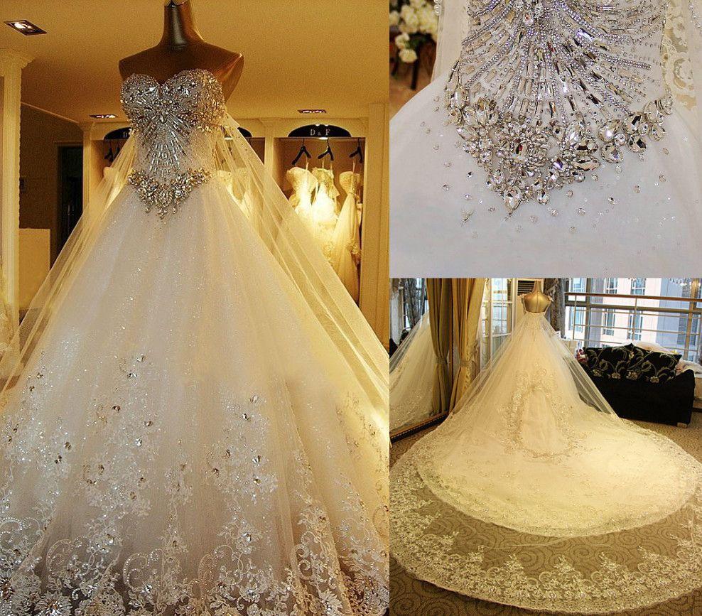 Wedding Gowns With Swarovski Crystals: Cheap Hot SWAROVSKI Luxury Dress Crystals Beading A Line
