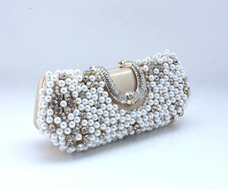 Banchetto 77917 della borsa di sera della borsa della borsa della borsa del rhinestone del raso dell'arco della perla di colore perfetto delle donne perfette delle donne