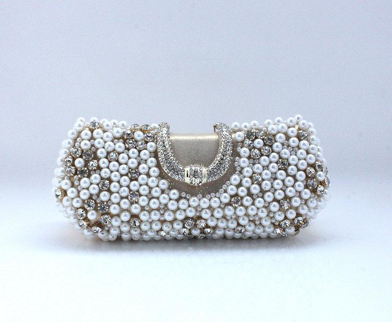Handmade Perfect Women`s Gold Color Pearl Bow Satin Rhinestone clutch bags handbag purse evening bag banquet 77917