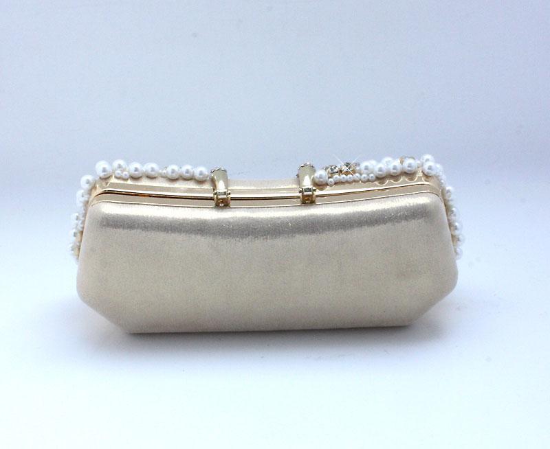 Hecho a mano perfecto de color oro de la perla arco satinado Rhinestone bolsos de embrague bolso bolso bolso de noche banquete 77917