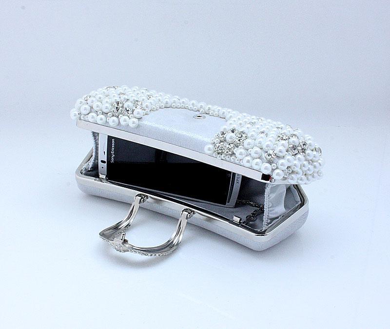 Banchetto 77917 della borsa della borsa della borsa della borsa della borsa del raso dell'arco della perla delle donne perfette porpora / nere / d'argento fatte a mano