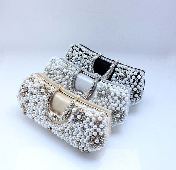 best selling Purple Black Silver Handmade Perfect Women's Pearl Bow Satin Rhinestone clutch bags handbag purse evening bag banquet 77917
