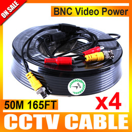 Wholesale Cctv Camera Cables - 4Pcs lot 50M 165Ft Video Power CCTV Cable BNC and DC Use For Surveillance CCTV Cameras