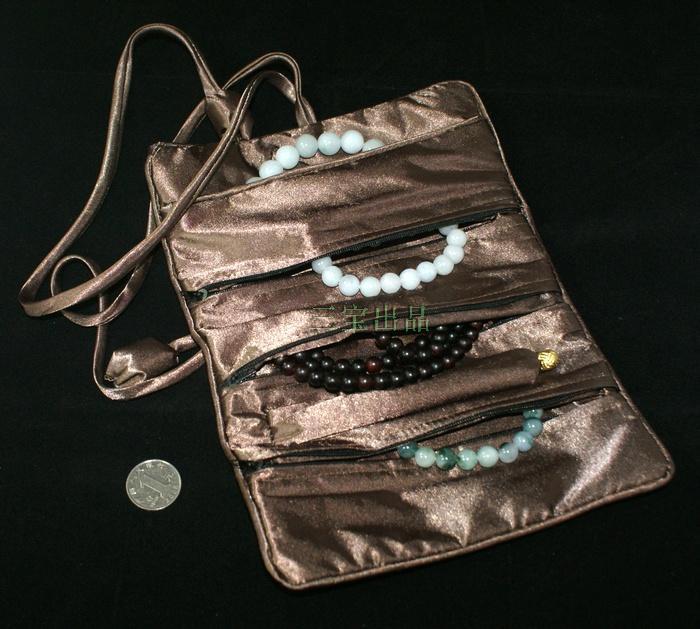 Trzy Biżuteria Zipper Roll Up Sprzęgłowa Torba Podróż Przechowywanie Sznurek Chiński Jedwab Brocade Kobiety Kosmetyczna Makeup Pakowanie