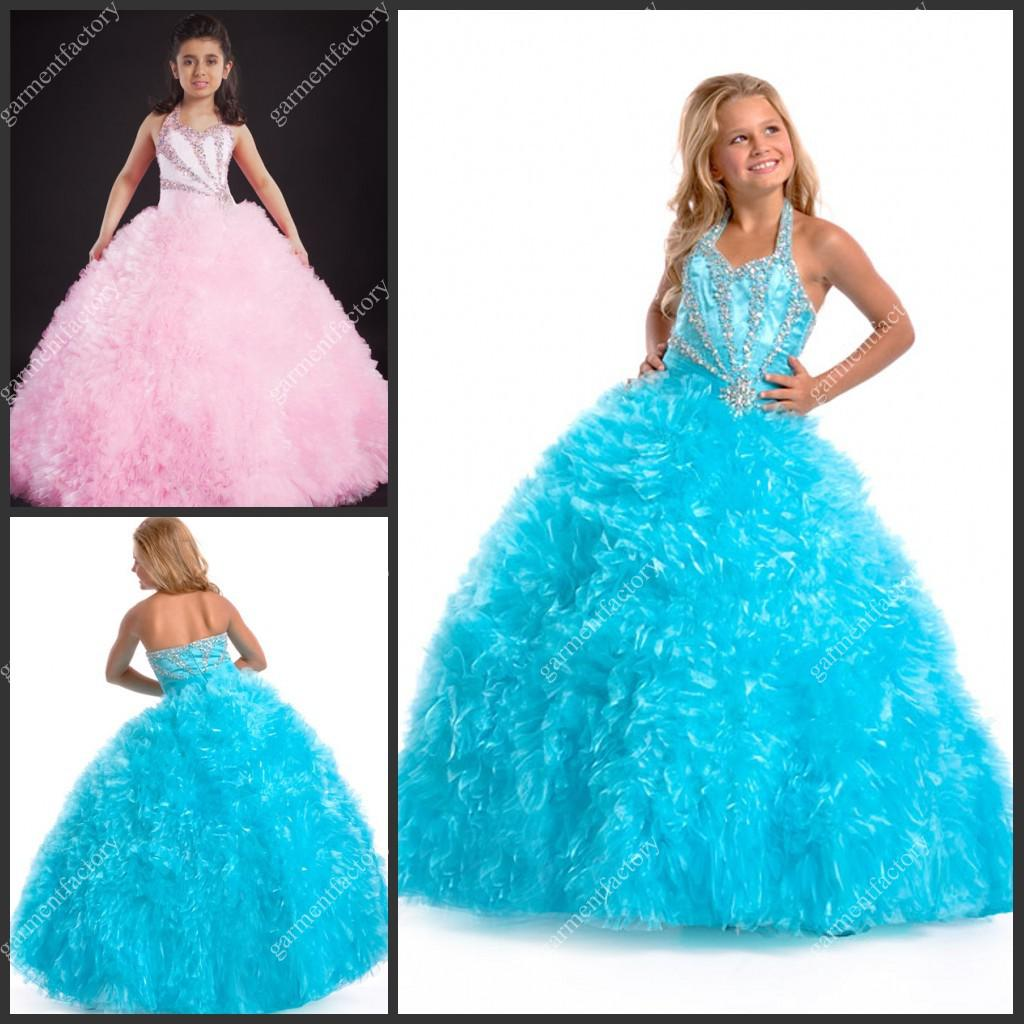 2013 New Arrival Girls Pageant Dresses Halter Neckline Rhinestones ...