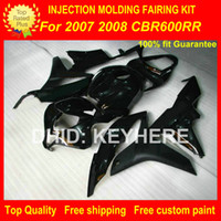 Wholesale Cbr Body Parts - Motorcycle parts fairings Injection for HONDA CBR600RR 07 08 CBR 600RR 2007 2008 F5 05 06 fairing kit motorcycle body work set all black G3b