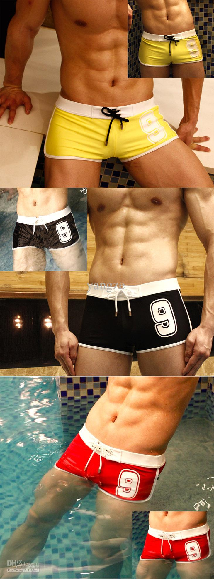 Superbody Hot Sexy Men's Swimwear No.9 Lucky Number with Tie Waist Mesh Breathable Swim Trunks Shorts Boxers for Men P9009 Beachwear