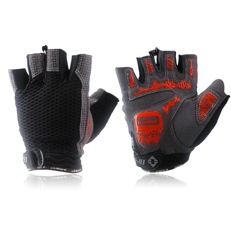 NEW INBIKE Black Bicycle Gloves Silicone GEL Half Finger Un par de ciclismo