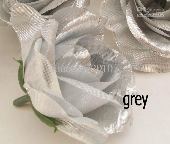 Cinza / prata cor rose flower head 100 pçs / lote diâmetro 7-8 cm artificiais de seda camélia rosas tecido camélia para cocar diy flores