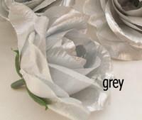 flores de tecido de prata venda por atacado-Cinza / prata cor rose flower head 100 pçs / lote diâmetro 7-8 cm artificiais de seda camélia rosas tecido camélia para cocar diy flores