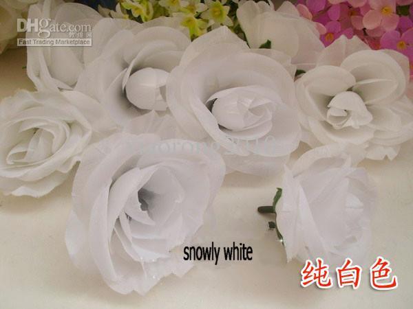 Snowy Bianco Colore 100 pz / lotto Diametro 7-8 cm Seta Artificiale Camelia Rosa Tessuto Camelia Capolini DIY Copricapo Fiori Accessori