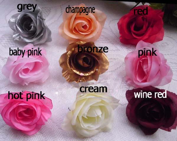 Colore misto 600 pz / lotto diametro 7-8 cm seta artificiale camelia rosa tessuto teste di fiori di camelia copricapo da sposa fai da te fiore