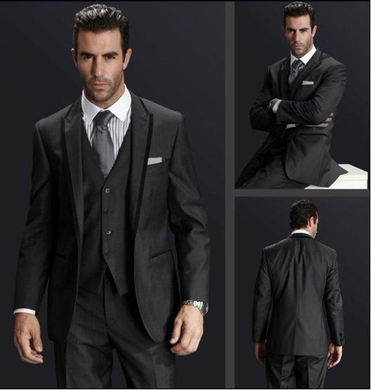 Online Cheap Center Vent Charcoal Grey One Buttons Groom Tuxedos ...