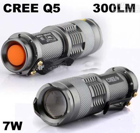 Silver Color 300LM CREE Q5 LED Camping Flashlight Torch Adjustable Focus Zoom waterproof flashlights Lamp(Silver Color)