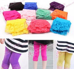 Wholesale Candy Striped Pants - New Summer Girls' Children Lace Leggings Candy Colors Tight Pants Kids' Elastic Lace Tight Pants