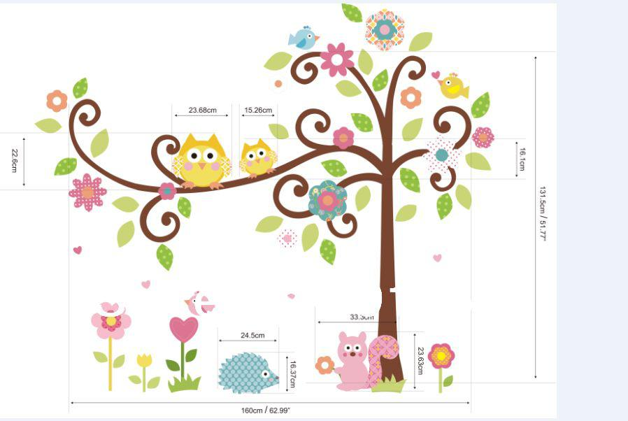Xxl Cute Owl Tree Peel U0026Amp; Stick Wall Decal Kindergarten  64u0027u0027*58in/162*147cm Children Room Decor 3d Pv Decorating Stickers  Decorating Stickers Walls From ...