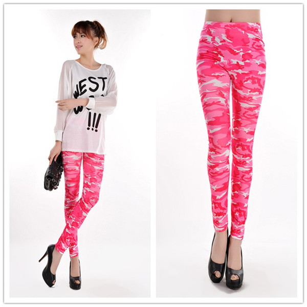898425c37d362 New Fashion Wholesale Sweet Pink Camouflage Printed Womens Leggings  Coloured Drawing or pattern Skinny Pants H198