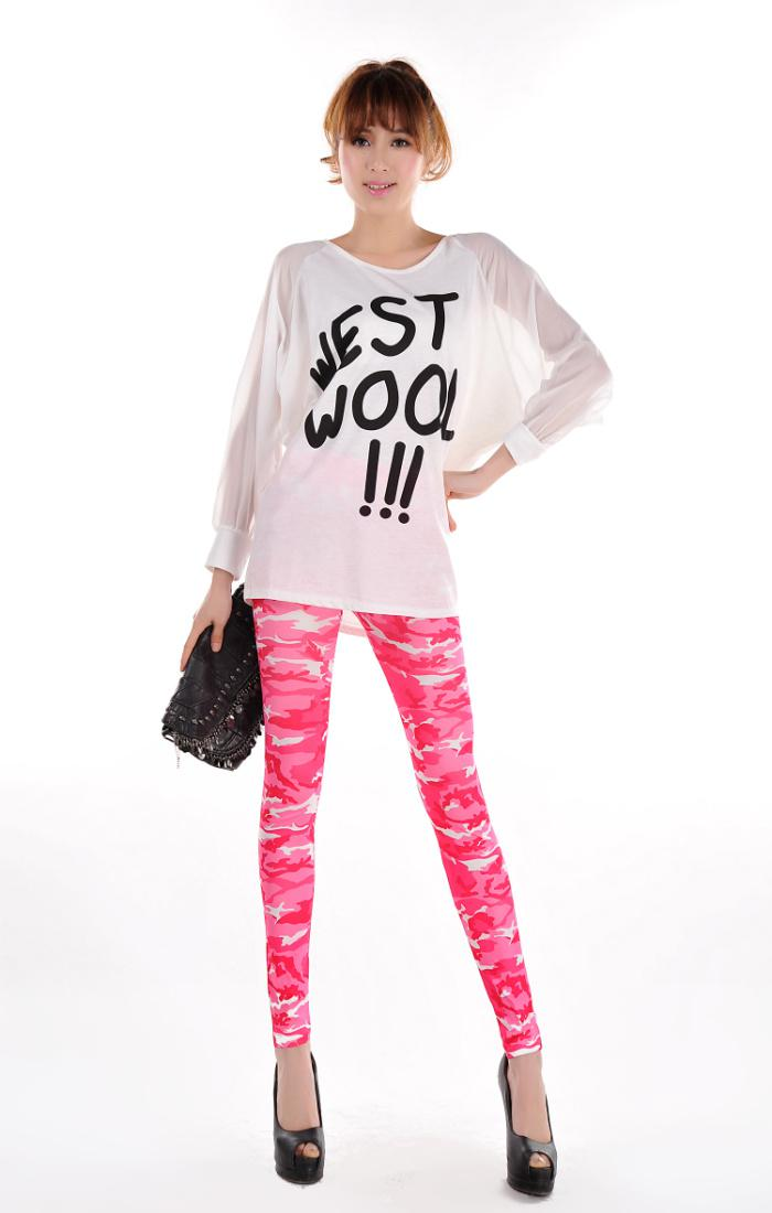 c9068c3f91ae9 New Fashion Wholesale Sweet Pink Camouflage Printed Womens Leggings  Coloured Drawing or pattern Skinny Pants H198 ...
