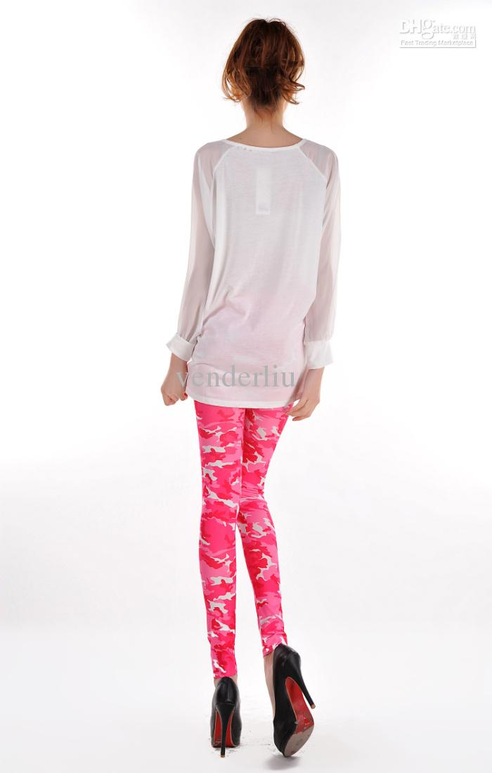 8e42de2b216a8 ... New Fashion Wholesale Sweet Pink Camouflage Printed Womens Leggings  Coloured Drawing or pattern Skinny Pants H198 ...