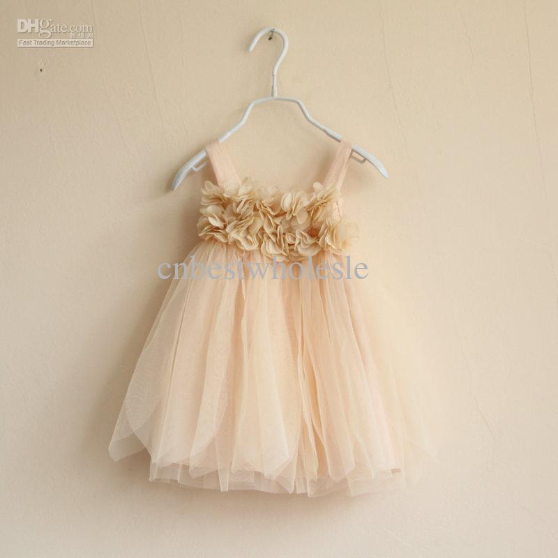 175a4395ccba 2019 Baby Girls Petal Tulle Tutu KHAKI Lace Dresses Kids Girl Strap ...