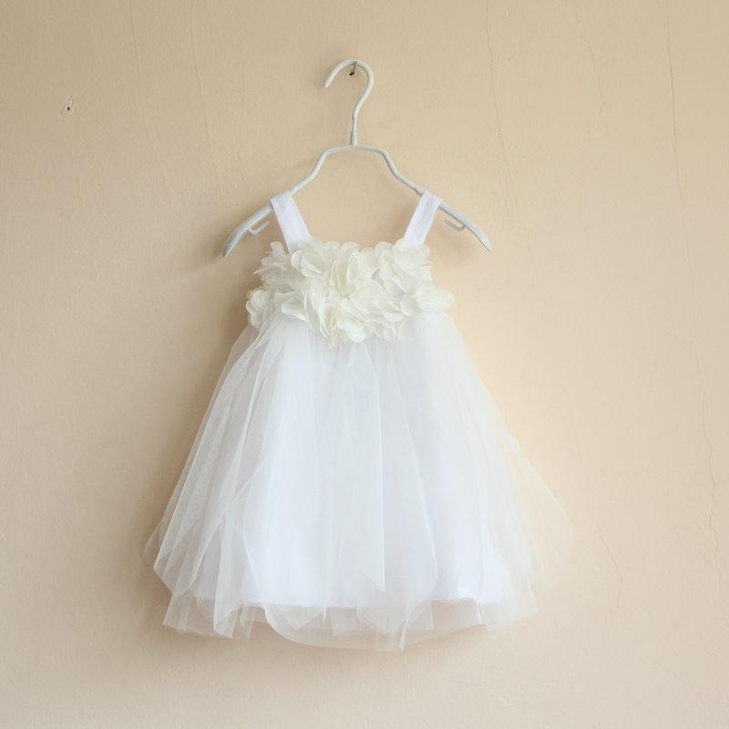 Baby Girls Petal Tulle tutu WHITE lace dresses Kids girl Strap Princess Dress tank tops vest summer children's clothes 4 colors 6pcs/lot