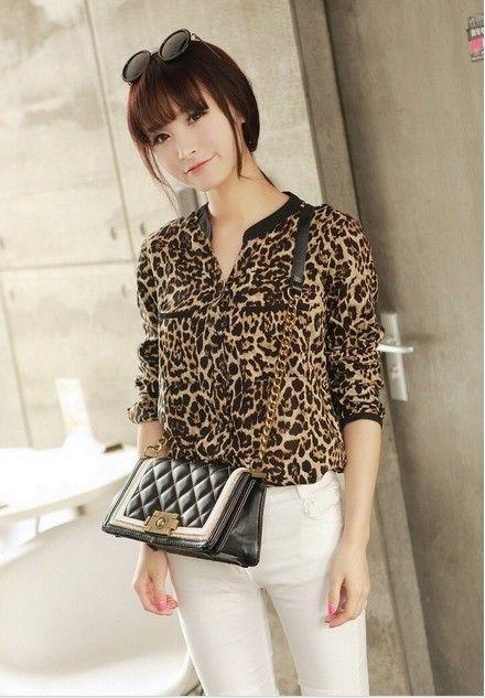 6391a97fdb 2018 2013 Hot Sale Long Sleeve Turn Down For Women Sexy Leopard Chiffon Top  Loose Shirt From Jingyue china