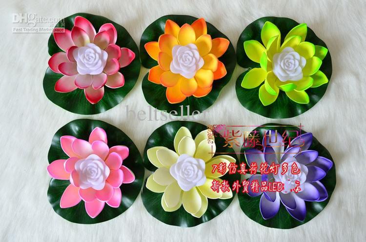 LED Lotus Değişen 7 Renk Yapay Lotus yüzen su çiçeği düğün Decor'un ışık