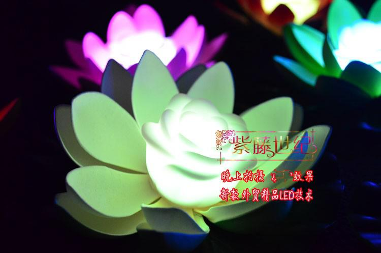 7 Colors Changing LED Lotus light Artificial Lotus floating water lamp wedding Decor 200pcs 100pcs